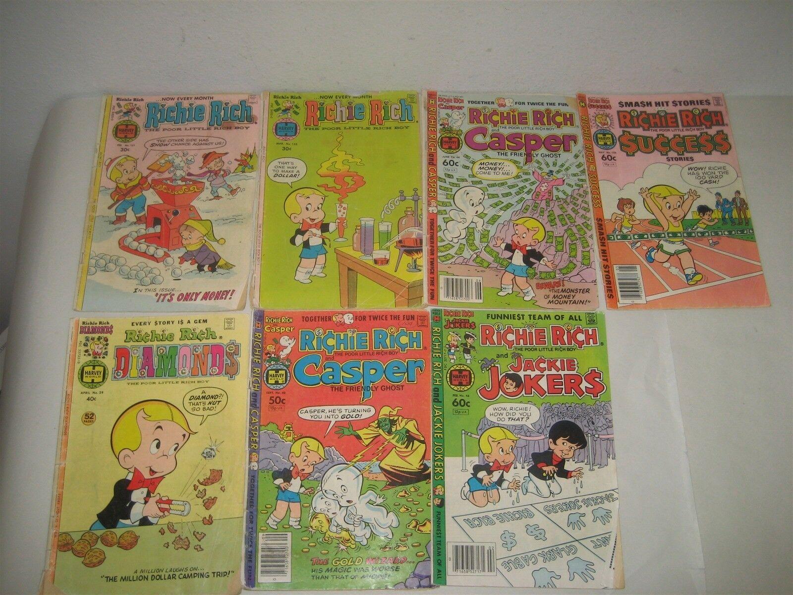 Lot of Seven (7) Richie Rich Comic Books Paperbacks Casper Success Jackie Jokers