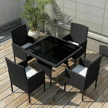 vidaXL Outdoor Dining Set Poly Rattan Wicker Black Garden Seater 4 Chair... - $333.99