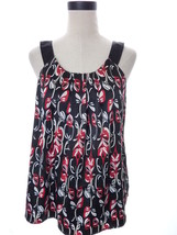 Style & Co Black Red satin Flora Sleeveless Blouse Size 12 Large Top - $14.00
