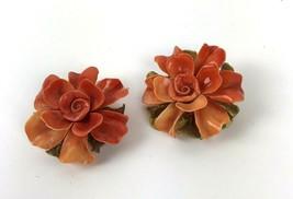 Vintage Big Jumbo Orange Plastic Flower Clip On Earrings Statement Runway - $14.84