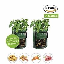 ZMFLL 2 Pack Garden Potato Growing Planter Bags with Flap Green 7 Gallon... - €9,61 EUR