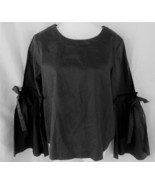 Laundry Shelli Segal top blouse M black long bell sleeves tie scoop neck... - $15.63