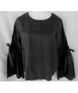 Laundry Shelli Segal top blouse M black long bell sleeves tie scoop neck... - $15.63