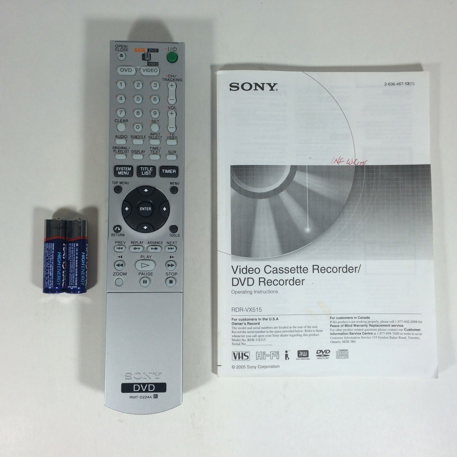 sony rmt d224a replacement remote control and 24 similar items rh bonanza com sony rdr vx515 manual download sony rdr-vx515 manual