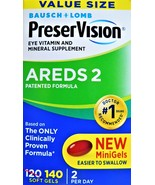 BAUSCH+LOMB PreserVision AREDS 2 Eye Vitamin and Mineral Supplement 140 SoftGels - $23.89