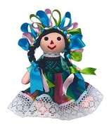 Mexican Handmade Traditional Rag Doll - 7 inches - Green - $20.31