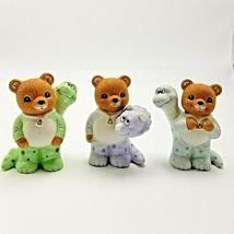 Homco Bears with Pajamas Dinasaurs 1483 Purple Green Blue Set of 3 - $16.20
