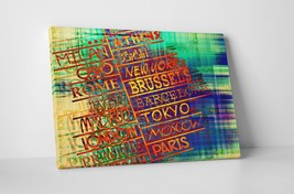 """City Names Abstract Art Gallery Wrapped Canvas 20""""x30"""" - $52.42"""