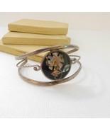Vintage Alpaca Silver Mexico Abalone Shell Flower Cuff Bracelet A37 - $18.69