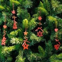 Christmas Tree Ornament Wood Red Snowflake Star Heart Hanging Pendant Xm... - €1,88 EUR+