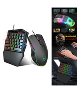 Portable LEDs One Hand Gaming 35 Keyboard + USB Wired Mouse for PC/ Xbox... - $44.62