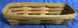 "1993 Vintage LONGABERGER Cracker Basket 11 1/2"" x 5"" Red/Blue/Green - $11.87"