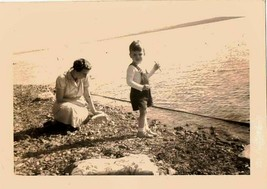 Antique Vintage Photograph Mom and Little Boy Playing By The Ocean 1938 - $6.93