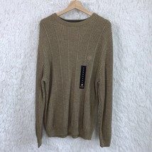 Chaps Ralph Lauren Thick Ribbed Knit Sweater Brown Crewneck Cotton Mens ... - $21.77
