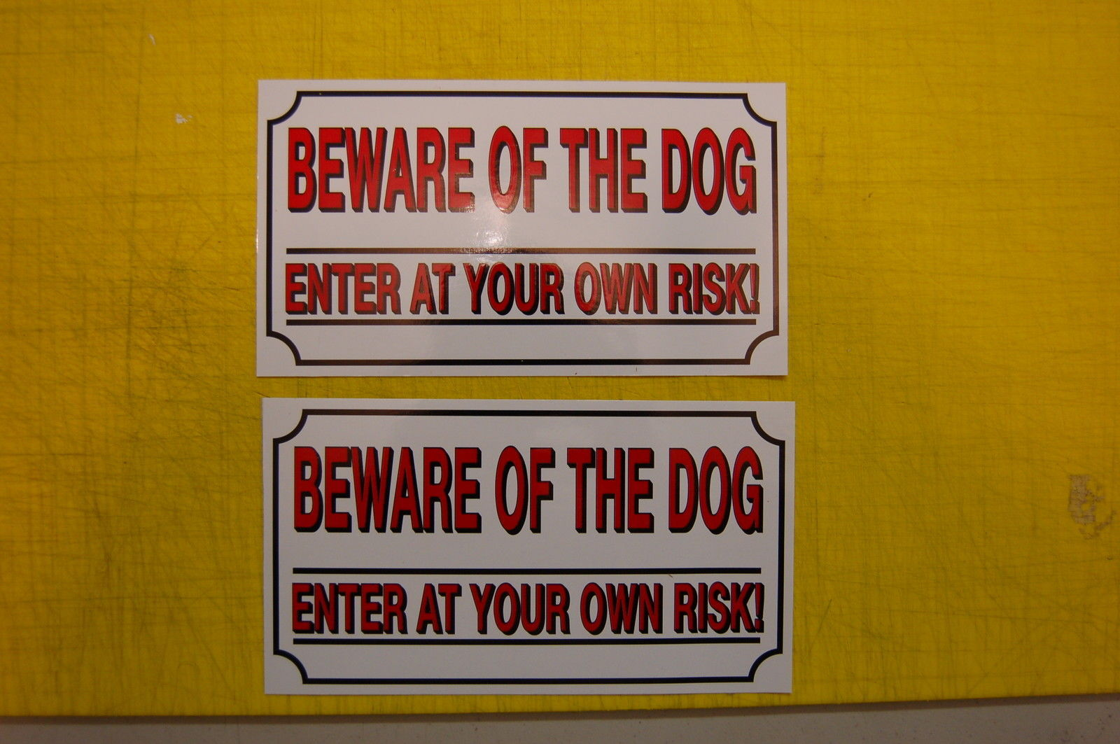 Primary image for 2 BEWARE OF THE DOG SAFETY  sticker ALL WEATHER vinyl sign security fence sign