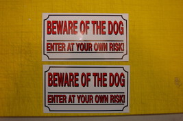 2 BEWARE OF THE DOG SAFETY  sticker ALL WEATHER vinyl sign security fenc... - $3.66