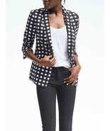 Banana Republic Gingham One-Button Blazer, Polyester, Black/White, Size ... - $149.99