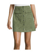 I 'Heart' Ronson Faux-Suede Military Skirt Size L New Msrp $55.00 Olive - $29.99