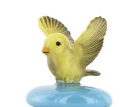 Stepping Stones Fairy Garden Terrarium Miniature Canary in Flight on Turquoise