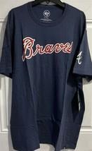 MLB Atlanta Braves T Shirt Extra Large Embroidered Retro XL Navy Vintage New - $27.67