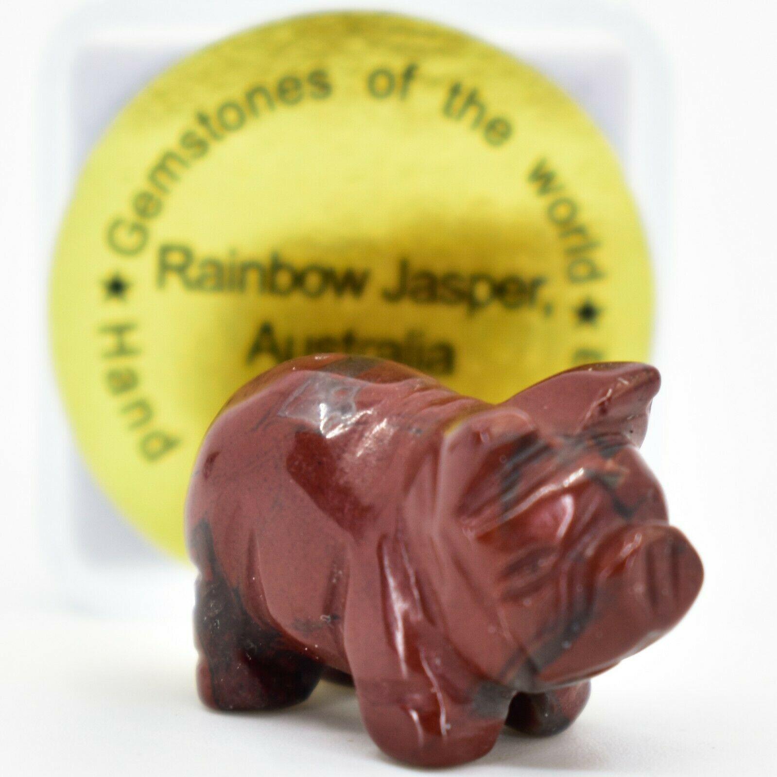 Rainbow Jasper Gemstone Tiny Miniature Pig Hand Carved Stone Figurine