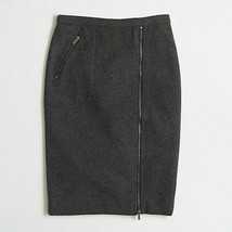 NWT J.Crew Factory Asymmetrical Zip Pencil in Heather Carbon Gray Wool S... - $24.00