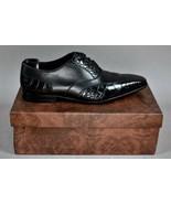STEFANO RICCI GENUINE BLACK ALLIGATOR COMBO LEATHER MEN'S SHOES US Size 9 - $1,187.99
