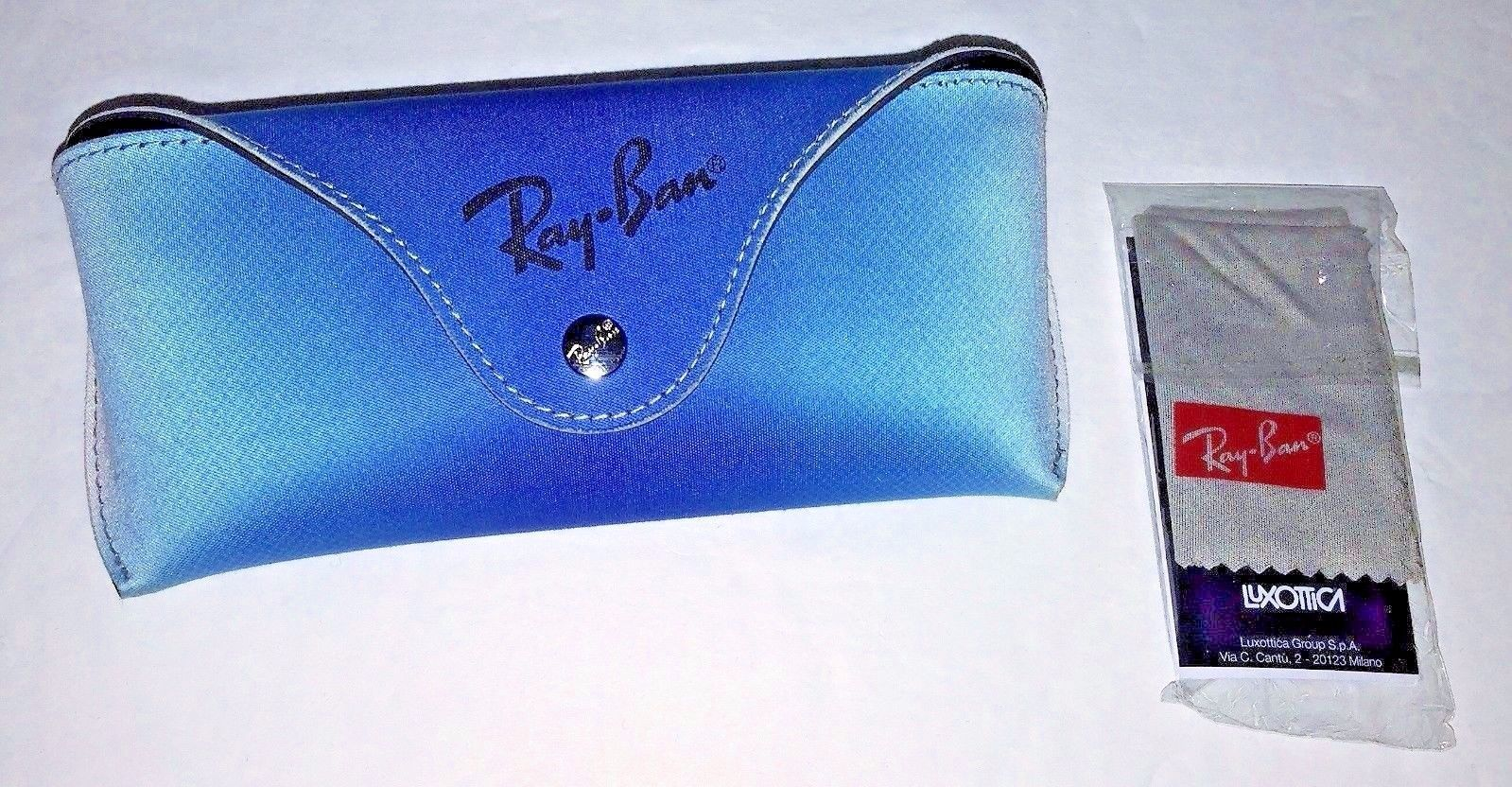 Primary image for New Ray-Ban Gradient Aqua Blue Sunglasses Case with Cleaning Cloth