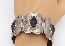 MEXICO 925 Sterling Silver - Vintage Black Hematite Hinge Chain Bracelet... - $319.03