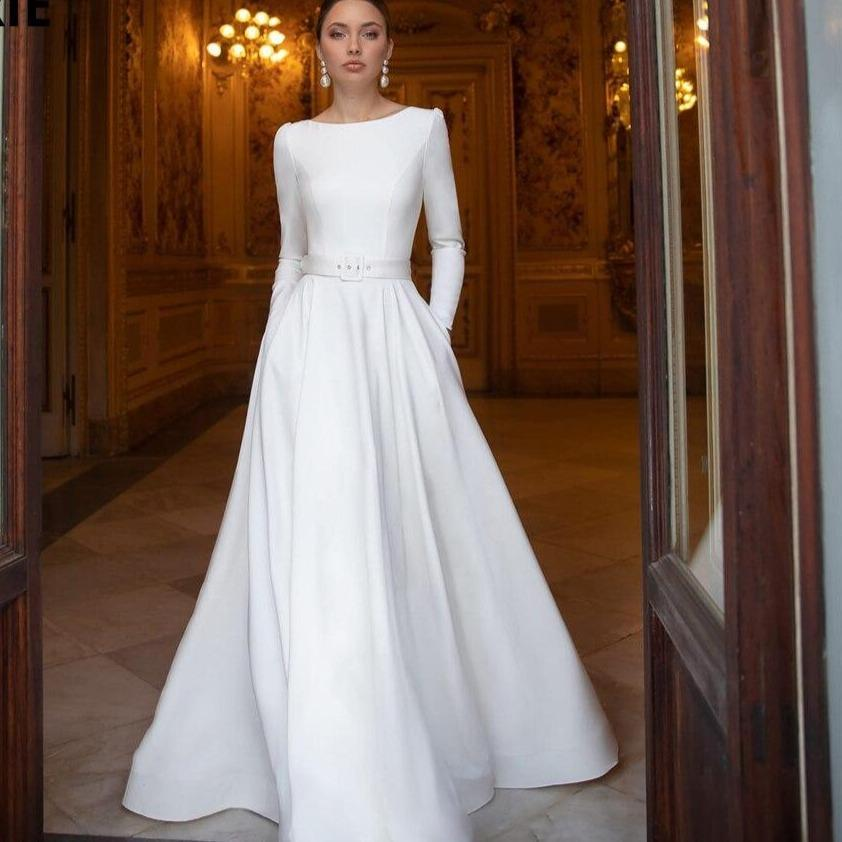 Lorie a line simple wedding dresses satin with lace beading bride gowns with long sleeve beach