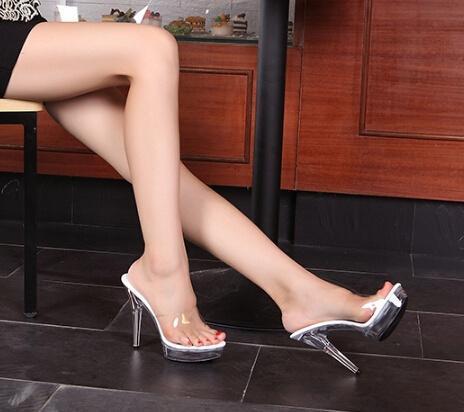 ddcb3ffd68f 13CM Super High Heels Thin Transparent Glass Slippers Platform Shoes  Princess W