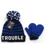The Children's Place Blue Stripe Knit Pom Beanie & Gloves 12 - 24 Months NWT - $29.69