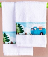 Nostalgic Camping Hand Towels Happy Camper Bath Decor Travel Trailer Ret... - $20.49