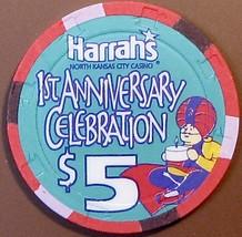 $5 Casino Chip. Harrahs, N. Kansas City, MO. 1st Anniversary. W35. - $6.99