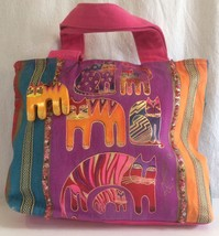 Laurel Burch Magenta Cat Canvas Tote Bag Purse Gold Sequin Beaded Medium... - $36.18