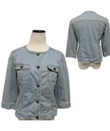 Chico's Women Blue/ White 3/4 Sleeve Stripped Jacket Pockets Button Sz 0... - $20.87
