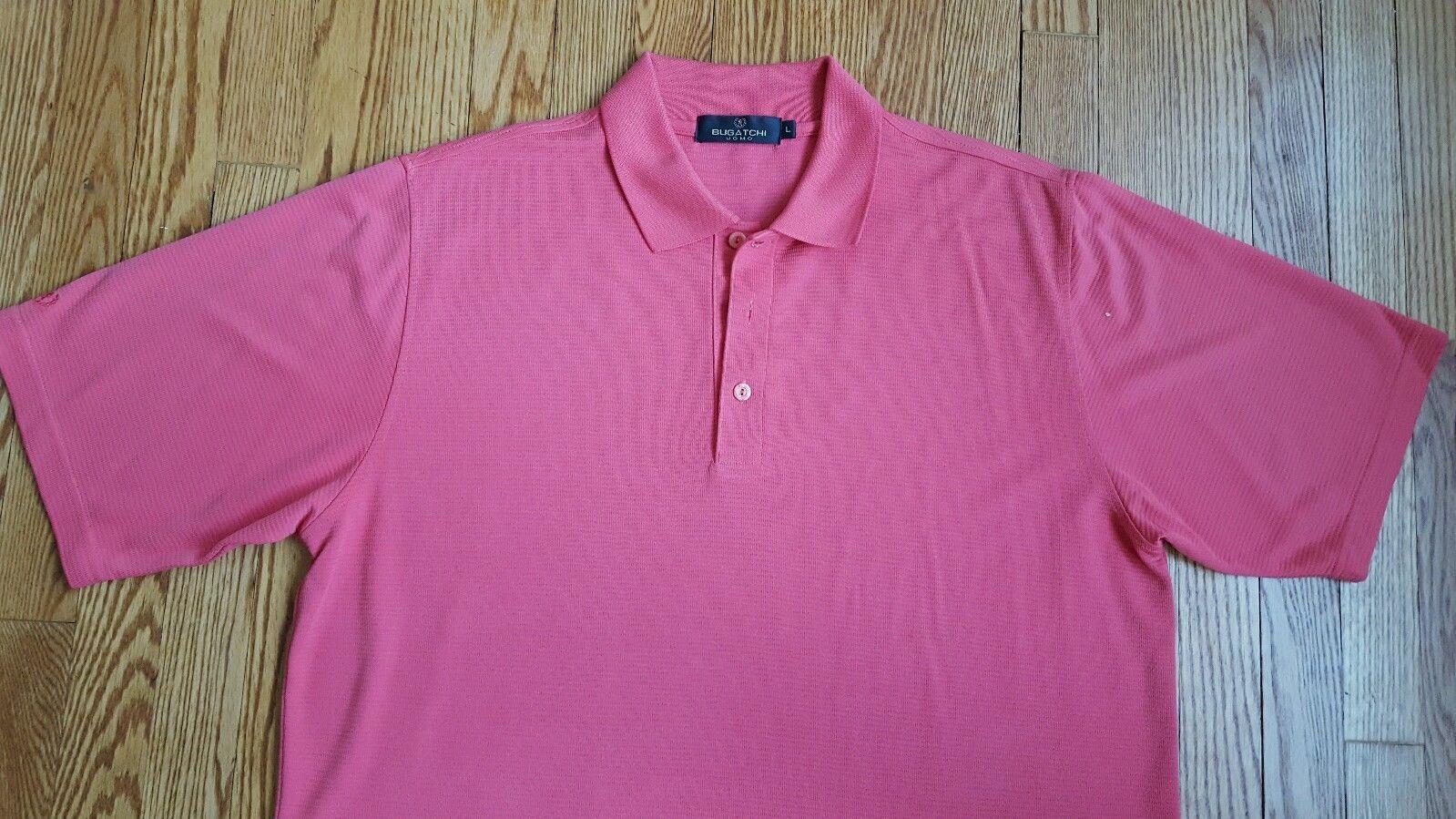 BUGATCHI UOMO Men's Golf Rugby Polo Shirt Short Sleeve Size Large