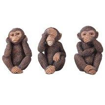 See, Hear, Speak No Evil Monkey Shelf Sitter Computer Top Sitters Chimpanze - $23.99