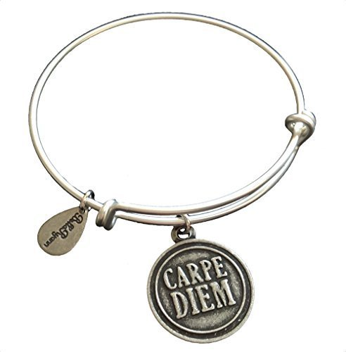 Bella Ryann Carpe Diem Silver Charm Bangle Bracelet