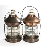 Pair Copper & Glass Lantern Liquor Bottle Decanters - $41.02