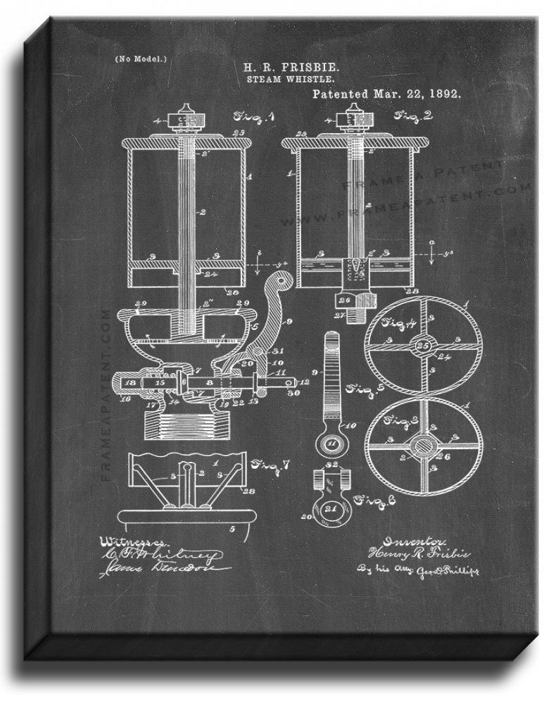 Primary image for Steam Whistle Patent Print Chalkboard on Canvas