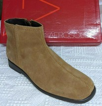 AEROSOLES Size 5 M Soft Brown Suede Low-Heel Zip Ankle Boots - Soft Insoles - $21.73
