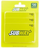 Subway Gift Cards, Multipack of 3 - $10 - $29.04