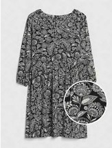 Gap Kids Girls Black Floral Cinched Waist 3/4 Sleeve Round Neck Dress 6 ... - $22.99