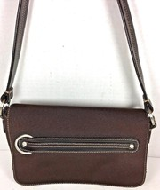 Cole Haan Small Brown Fabric with Brown Leather Trim Flap Shoulder Bag - $34.91