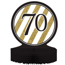 "Black & Gold 70th Birthday Honeycomb Centerpiece 12"" x 9"", Case of 6 - €31,79 EUR"