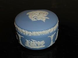 "Vintage Wedgwood Jasperware Blue And White Trinket Box 1 3/4"" H By 3"" W - $24.00"