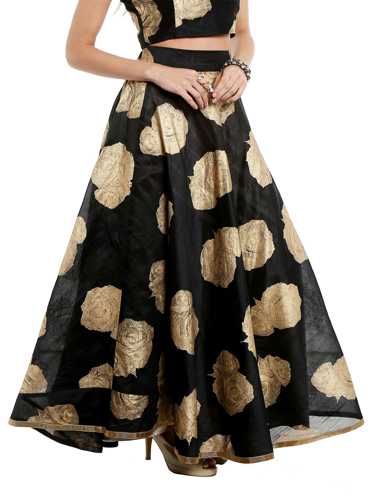 Ira Soleil black skirt printed with gold tinsel print