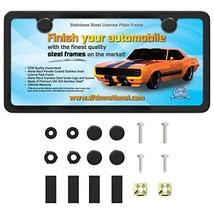 DFDM National Matte Black License Plate Frame Kit Stainless Steel Contains Screw