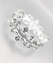 Inspirational Silver Antique Filigree Faith Hope Love Stretch Bracelet - $15.99